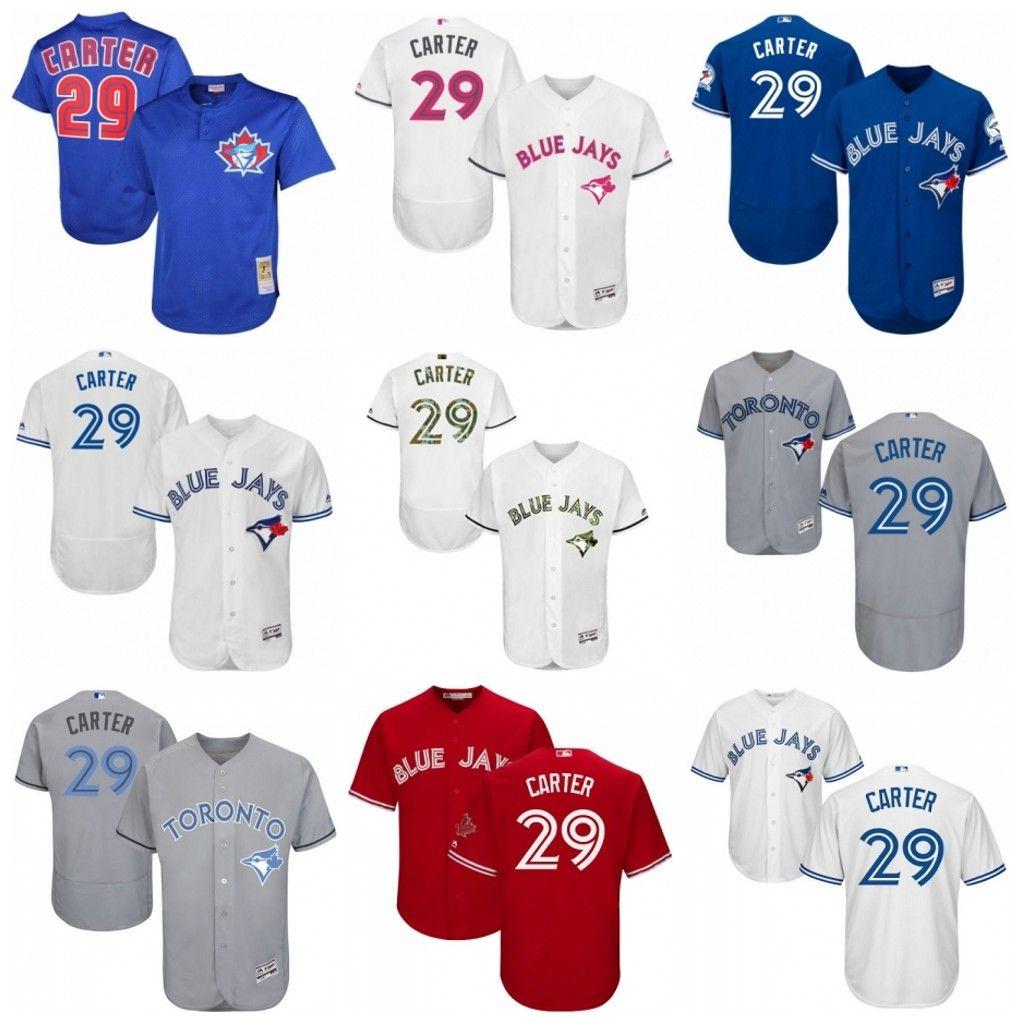 wholesale dealer 9a940 1cd5f mens toronto blue jays 29 joe carter grey new cool base jersey