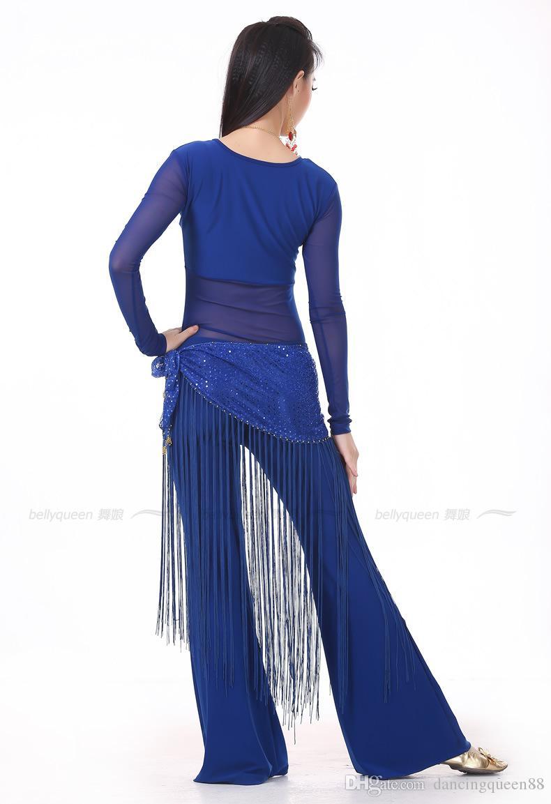 2018 Костюм для танца живота Набор 3PS Профессиональный TopPantsHip Шарф Индийское платье Lady Belly Dancing Dance Wear Практика / Производительность