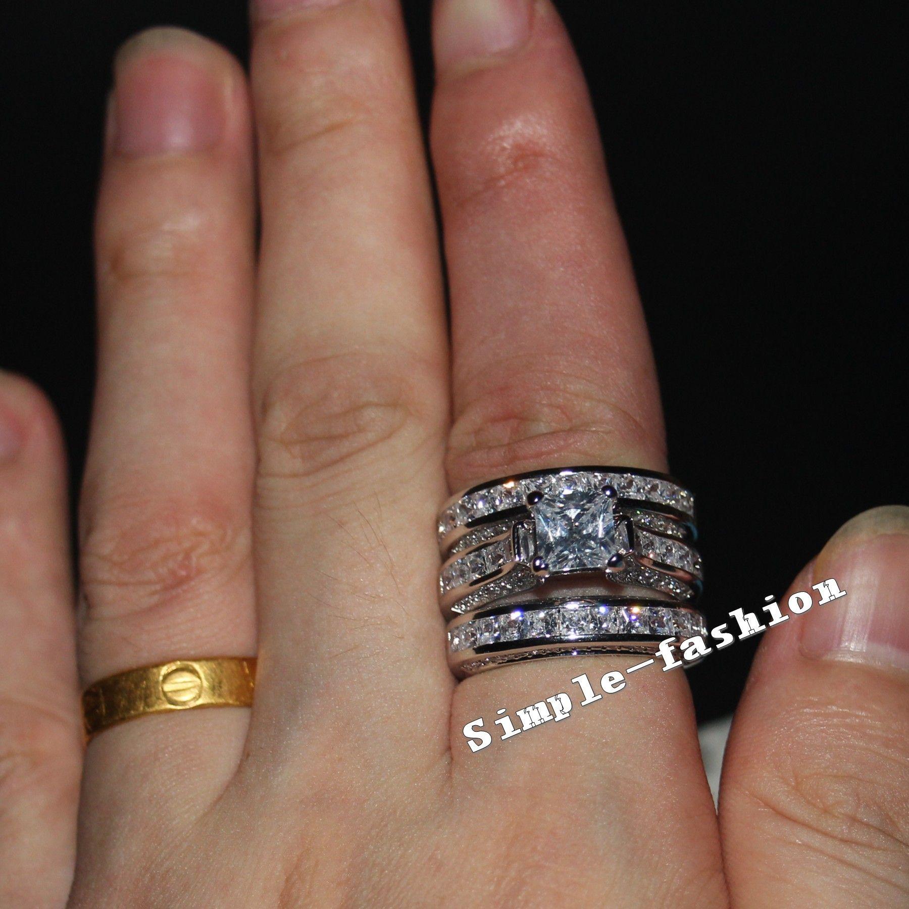 Vecalon Fine Jewelry Princesa corte 20ct Cz diamante Anel de Noivado Wedding Band Set para As Mulheres 14KT White Gold Filled dedo anelar