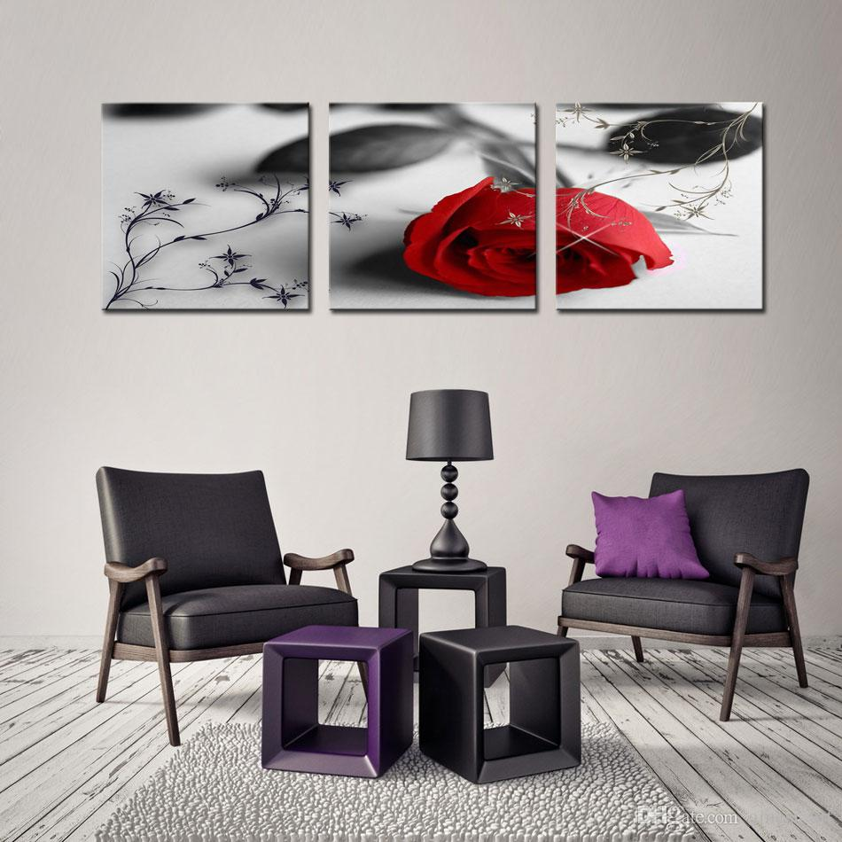 Discount Canvas Print Flower Wall Art Painting Of Love Red Rose