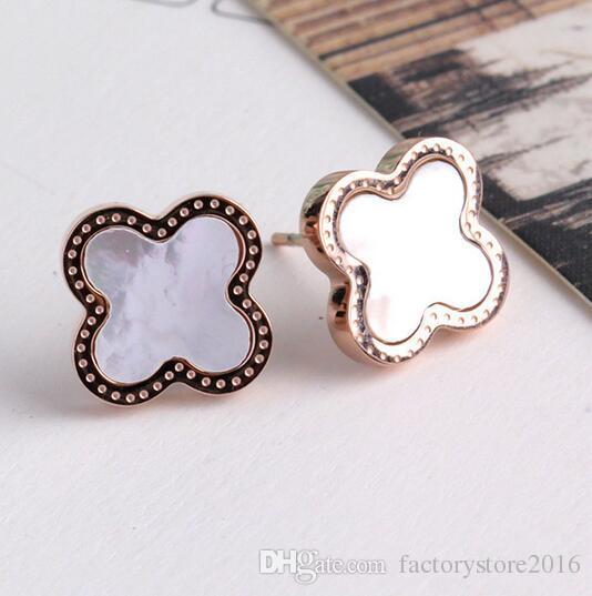 925 banhado a prata Clover brincos Rose Ouro Lucky Ear Stud Brinco Jóias por Mulheres Alta qualidade dom Atacado Fábrica