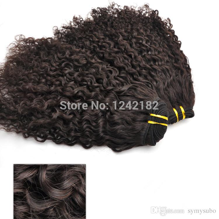 Дешевые человеческие волосы ранга 7a Unprocessed бразильские курчавые Виргинские соткут естественные черные волосы 100g/pc 8