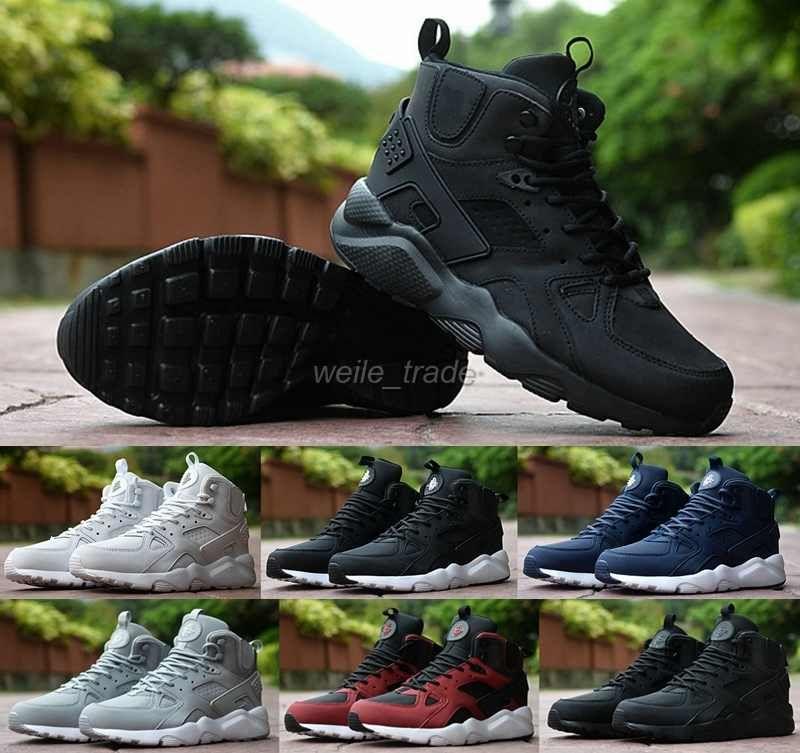 99b71f7d55ab9 Compre 2016 Aire Huarache 3 III Hombres Corriendo Zapatos Negro Blanco De  Corte Alto Buena Calidad Zapatillas De Deporte Triple Huaraches Zapatillas  ...