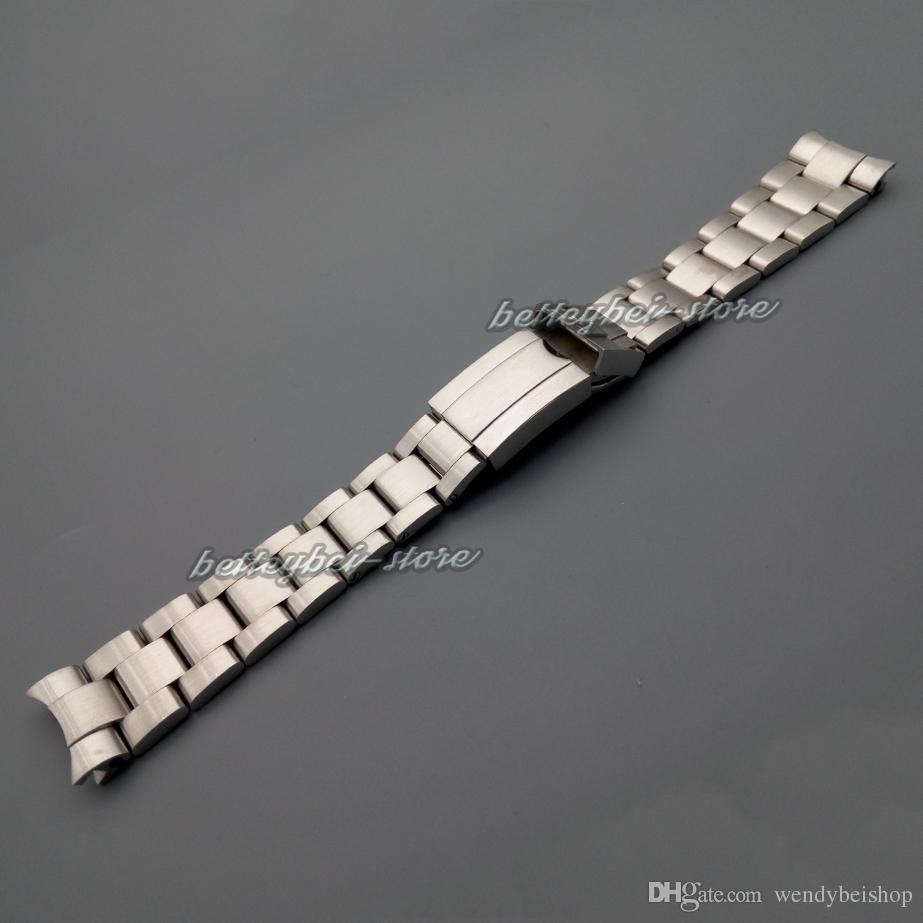 20mm 새로운 도매 실버 닦 았 스테인레스 스틸 곡선 엔드 시계 밴드 스트랩 팔찌 시계