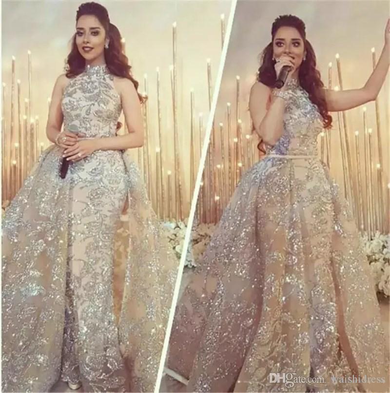 Custom Made Pescoço Alto Dubai Árabe Vestidos de Noite Com Overskirt Cristal Frisada Lace Applique Prom Vestido Sereia Bainha Vestidos de Noite