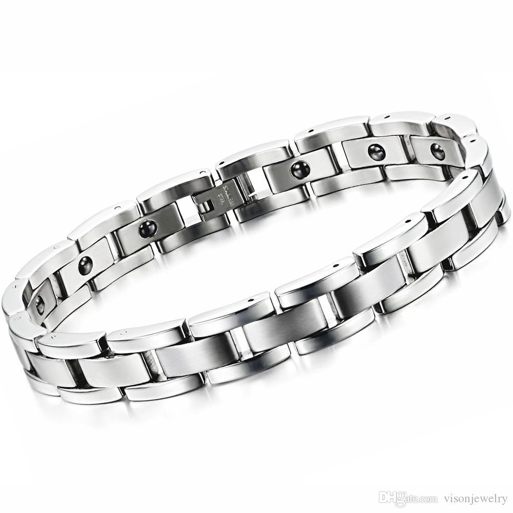 O bracelete Chain da motocicleta dos homens de 11mm com energia a pedra magnética mantem a jóia da saúde