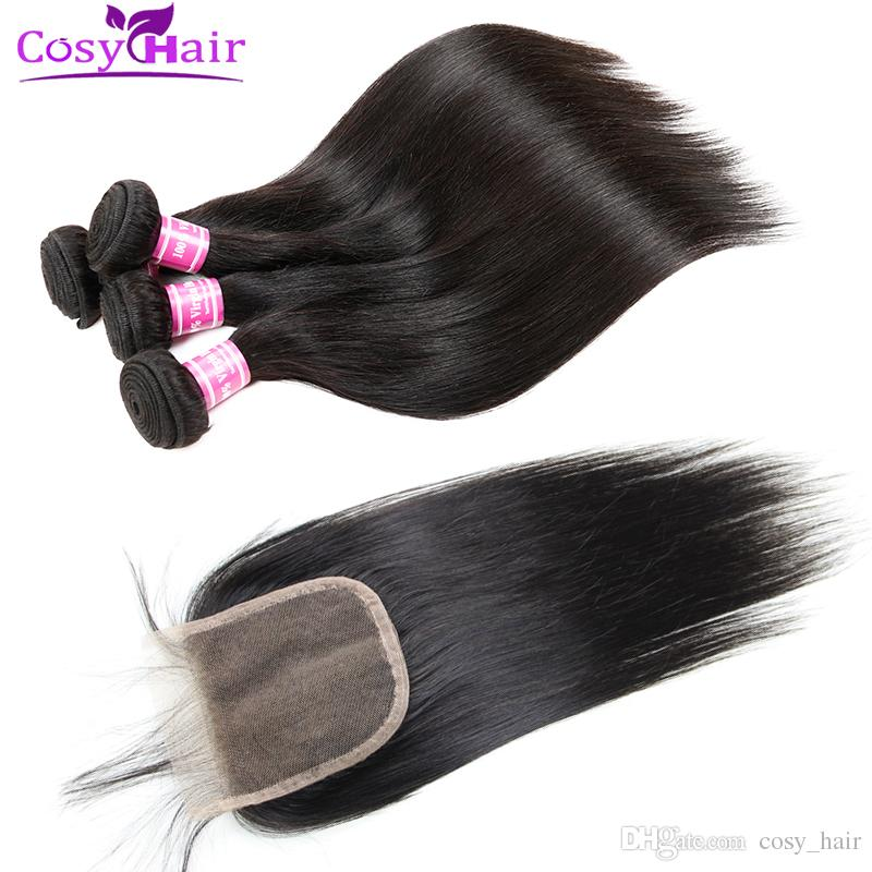 Wholesale Brazilian Virgin Hair Striaght Human Hair Wefts Bundles With 4x4 Lace Closure Unprocessed Extensions Weave Bundles