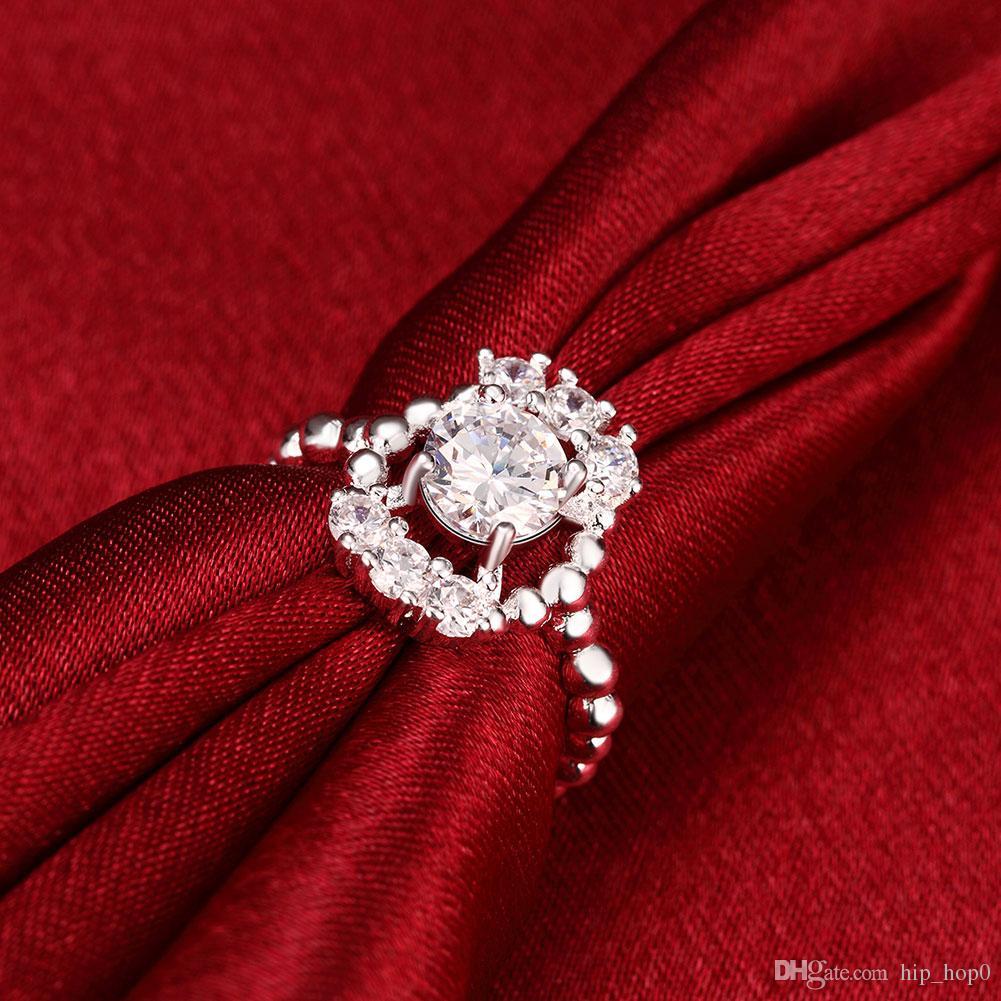Europa und die Vereinigten Staaten heißen Verkauf Peas CZ Zirkonia Ringe Erklärung Schmuck Überzug 925 Sterling Silber für dich romantische Verlobungsring
