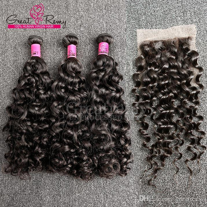 """Greatremy® Big Curl Chinese Virgin Hair Weave 8""""-34"""" Hair Bundles +Lace Closure 4x4 Human Hair Extension Great Remy Water Wave"""