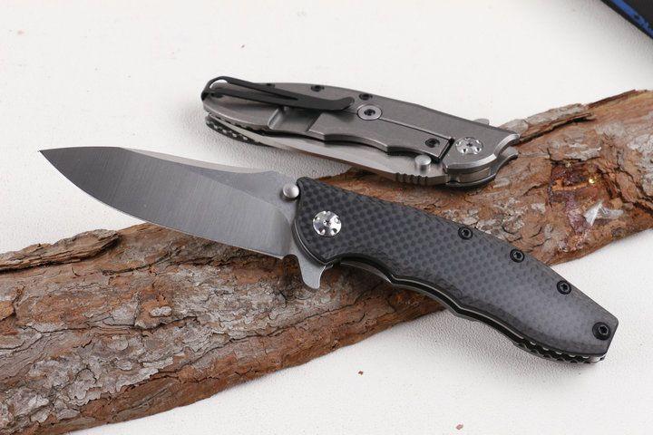 New OEM 0562CF Flipper knife D2 Drop Point Satin blade Ball Bearing Washer EDC pocket knife