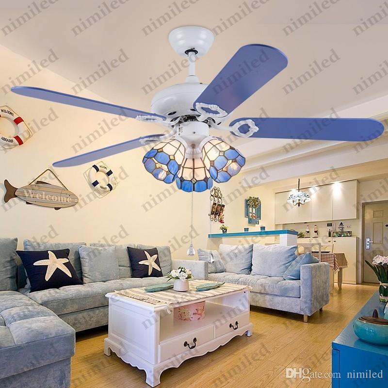 "nimi927 42""/48"" Mediterranean Fan Tiffany Chandelier Lighting Living Room Ceiling Fan LED Lights Restaurant Wooden Blades Pendant Lamps"