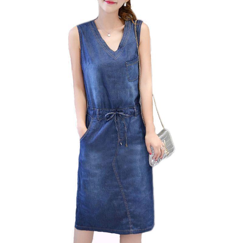 Acquista Abito Di Jeans All ingrosso Estate Donna Plus Size Abbigliamento  Senza Maniche Jeans Camicia Vestito Da Donna Casual Scollo A V Abiti Da  Spiaggia ... 19733b83843