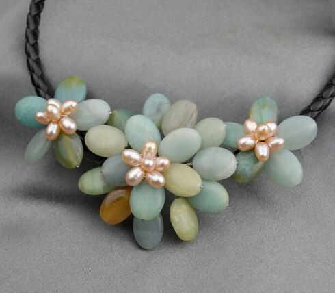 Hochzeit hübsche Blumen Amazonite Halsreifen Halskette Frau Schmuck handgefertigt