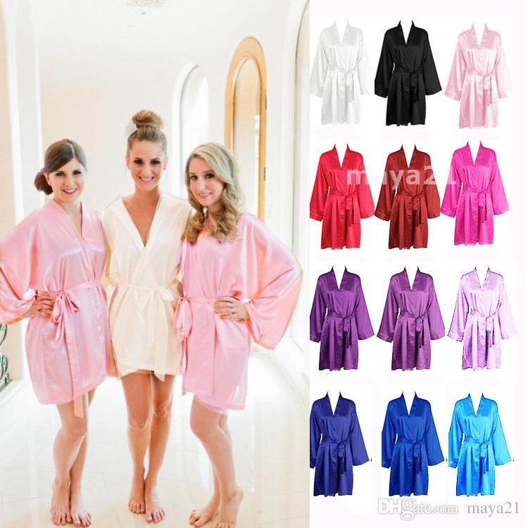ee52a90bac 2019 Long Sleeves Cheap Bridesmaid And Bride Robes Silk Bathrobe Wedding  Party Robe Kimono Silk Satin Robes For Bridesmaid Silk Wedding Robe From  Maya21