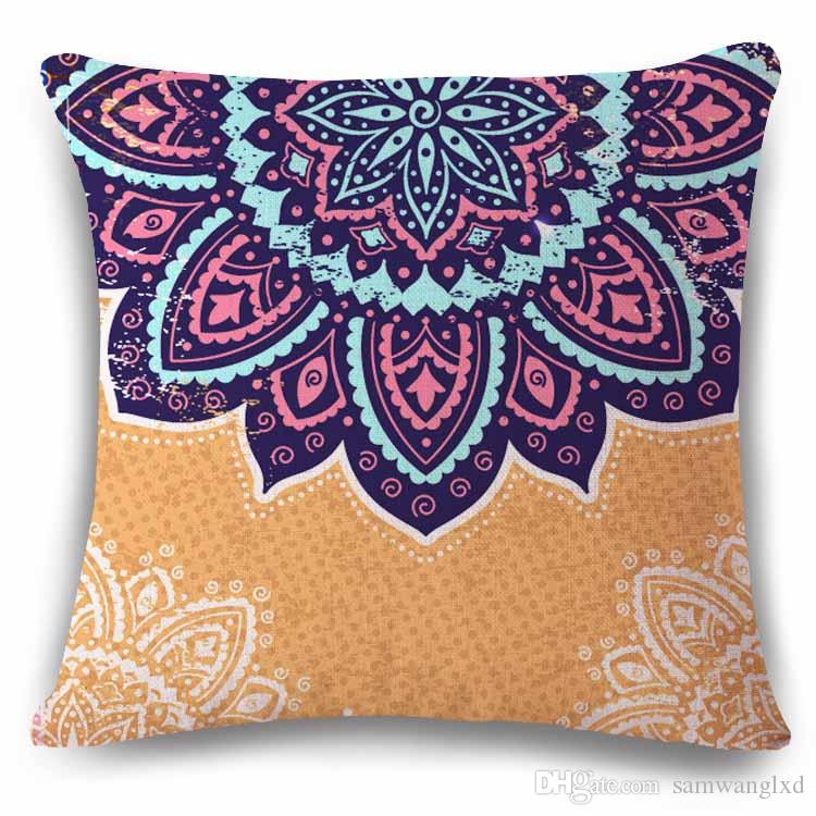 Vintage National Striped Geometric Pattern Pillowcases Cushion Cover Chair Waist Seat Square 45x45cm Pillow Cover Home Garden