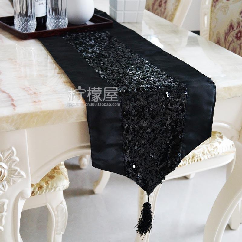 Round Table Runner Black Sequin Low Key Luxury Table Runner / Cloth / Cloth  / Table Cushion Cover / Mat / Towel Sets Linen And Tablecloth Tablecloths  ...