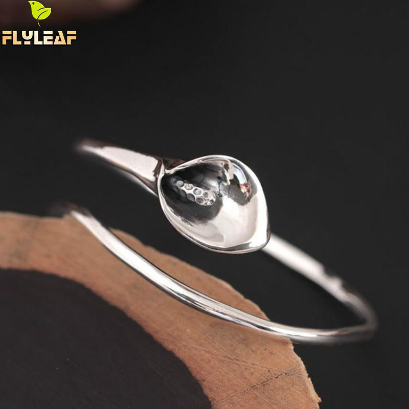 Flyleaf 925 Sterling Silver Vintage Calla Lily Flower open Bracelets & Bangles For Women Fashion Lady Sterling-silver-jewelry