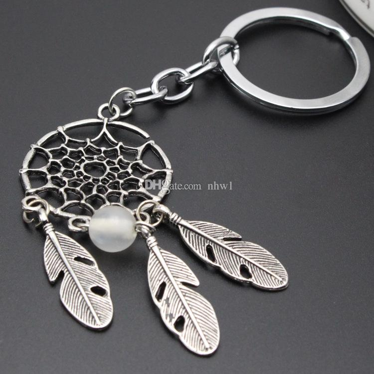 Fashion Gift Pink Black Beads Dreamcatcher Feather Wind Chimes Dream Catcher Key Chain Women Vintage Indian Style Keychain