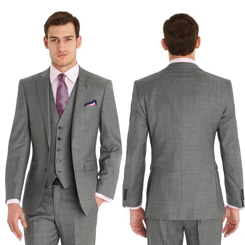 Slim Fit Side Vents Light Grey Groom Tuxedos Notch Lapel Best Man ...