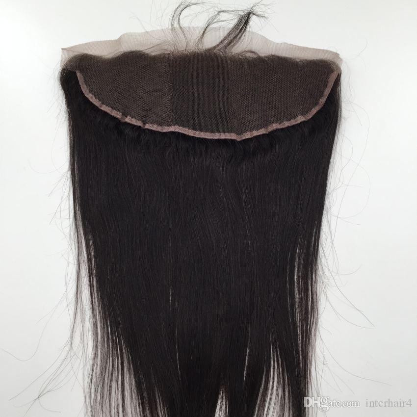 Tres cierres frontales del cordón brasileño de la Virgen rectas libres del medio con 3 paquetes de la armadura del pelo humano barato trama recta de Brazillian