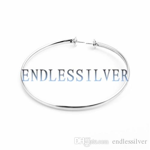 Bracelet Setting 925 Sterling Silver Simple Design Oblate Bangle with Two Pearls Seats for Pearl Party