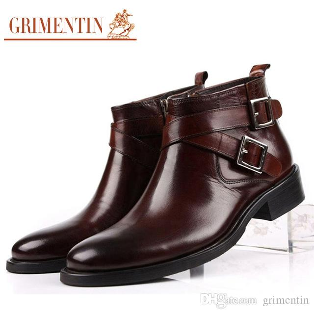 GRIMENTIN Hot Sale Fashion Men Boots Genuine Leather Double Buckle Black  Brown Male Ankle Boots for Men Dress Shoes Size:38-46 2BO231 Men Ankle Boots  ...