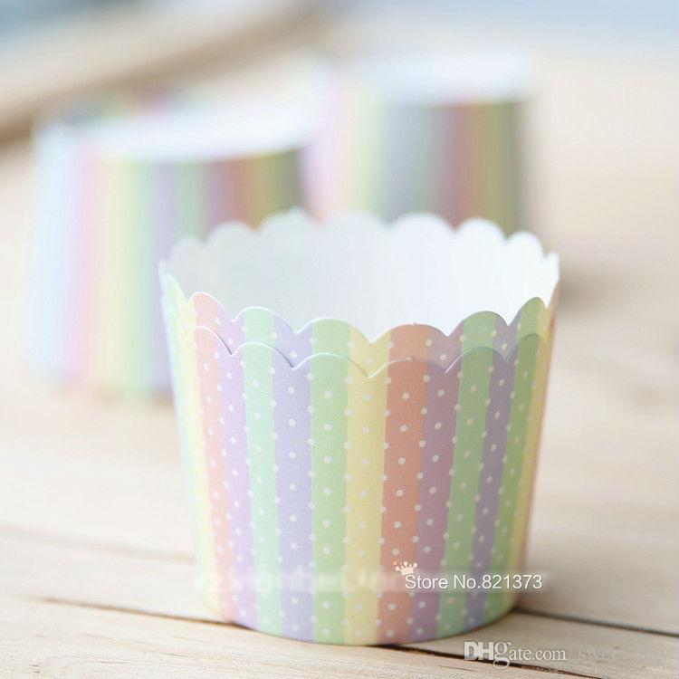 colorful rainbow paper cupcake holder case, muffin cake cups, polka dots decorative cup for party birthday wedding
