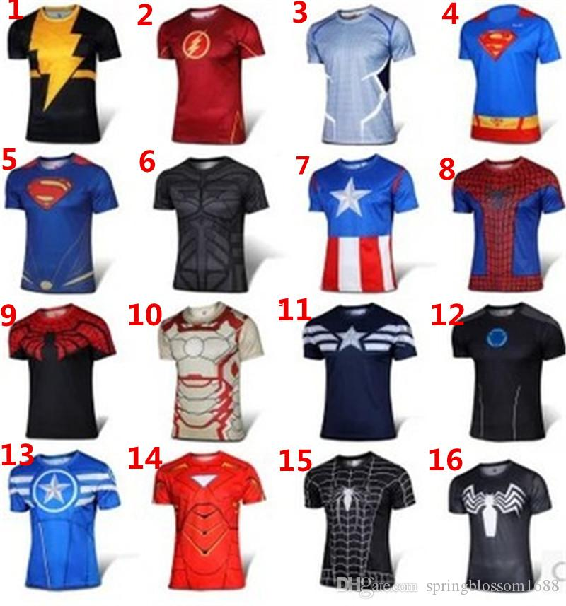 16 design t shirt printed superhero 3d short sleeve 2016. Black Bedroom Furniture Sets. Home Design Ideas