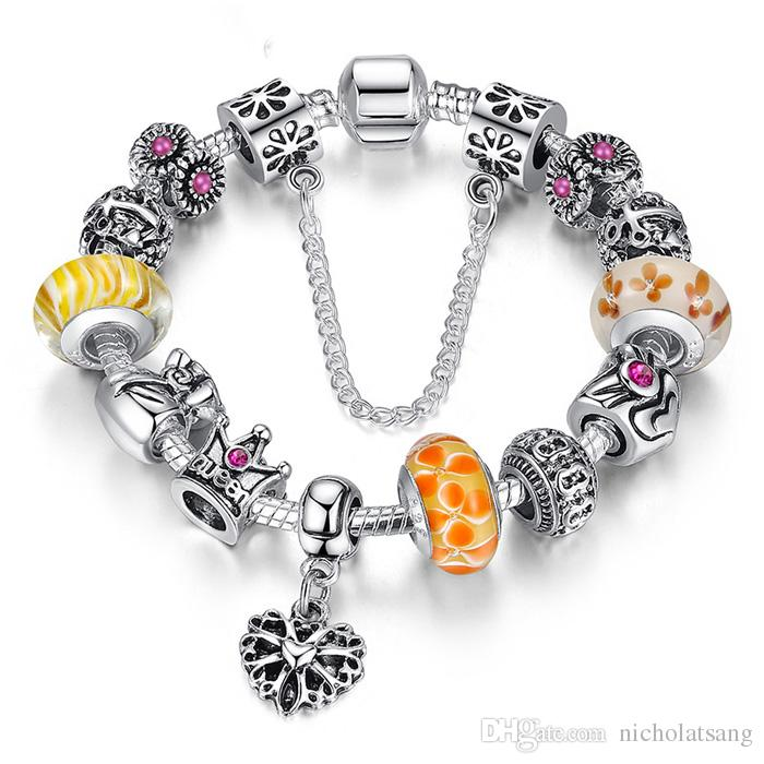 혼합 색상 퀸 쥬얼리 실버 매력 팔찌 팔찌 Queen crown beads 여성을위한 팔찌 하트 매력 사랑 팔찌 도매