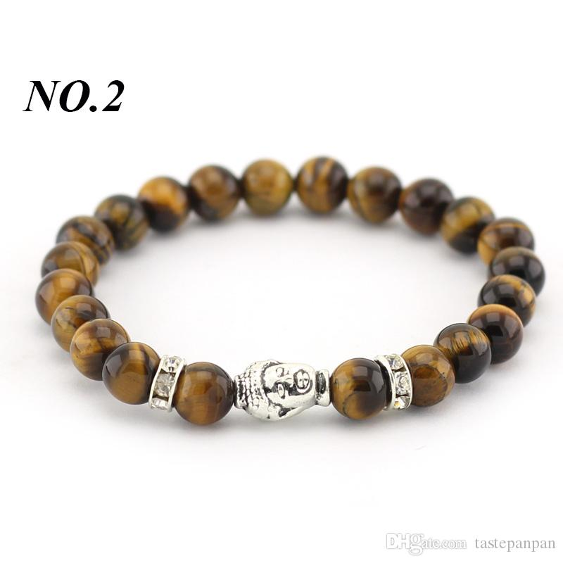 Neue Mode Natürliche 8mm Stein Perlen Antikes Silber Überzogene Buddha Charms Armbänder Für Frauen und Männer Armband
