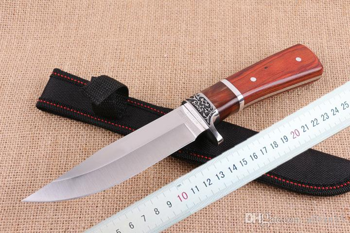 Wholesale C R KT K3251B Survival Straight knife 5Cr15 58HRC Satin Blade Colorful Wood Handle Fixed blade knife Knives with Nylon sheath DHL