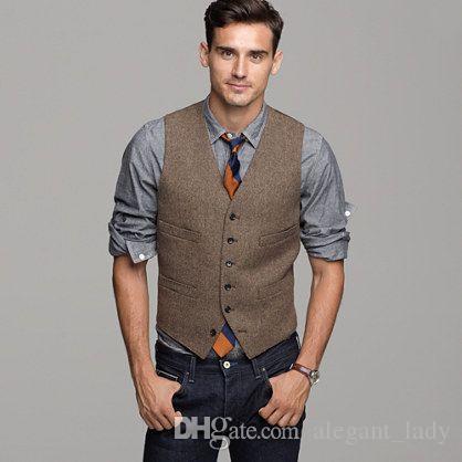 Britânica lã marrom tweed colete homens terno slim fit noivo colete colete de casamento do vintage uniquemens dress colete plus size