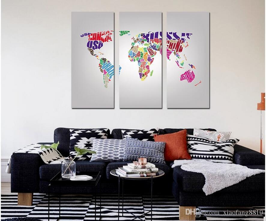 Modern popüler renkli baskılı 3 adet çocuk odası Dekorasyon için mektup haritası Tuval Boyama duvar sanatı resimleri ev dekor çerçevesiz