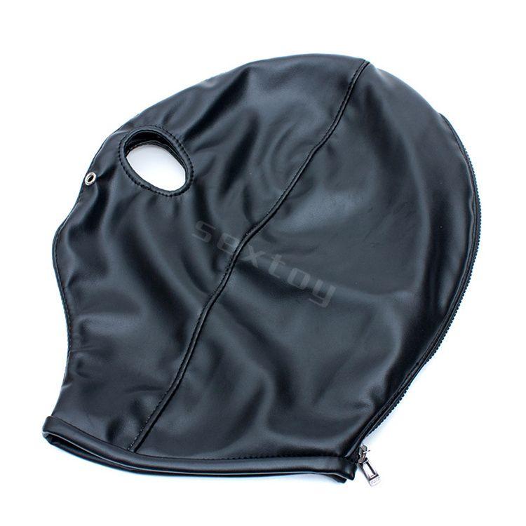 Fetisch Open Eye Hood Maske, PU Leder Kopf Bondage Fesseln Erotikspiele Sex Produkte