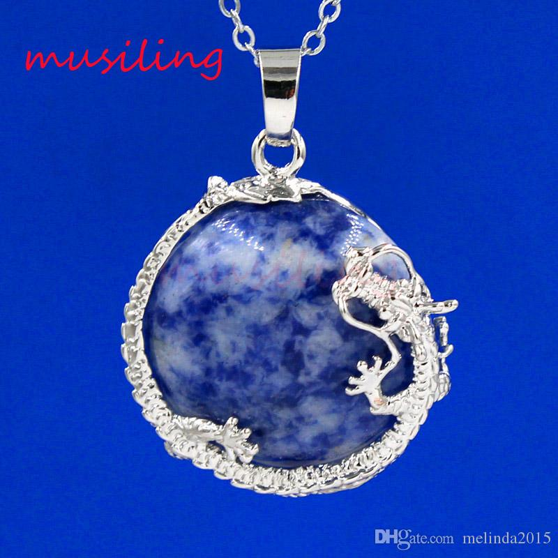 Silber überzogene Amethyst Lapis Lazuli etc Naturstein Flache Dragon Ball Maskottchen Reiki Anhänger Charms Amulett Europäischen Modeschmuck 10 stücke