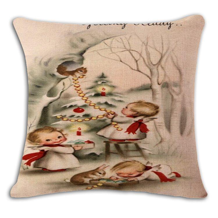 Christmas Decor High Qulity Cotton Linen Santa Claus Elk Christmas Printed Decorative Cushion Cover Pillow Case Car Seat 45*45cm Pillowcase