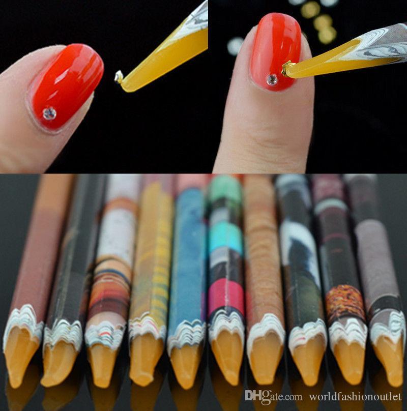 Pro Crystal Rhinestones Picker Self Adhesive Resin Picker Pencil Nail Art Gem Crystal Pick Up Tool Wax Pen Long Pencil Craft Decor Tools