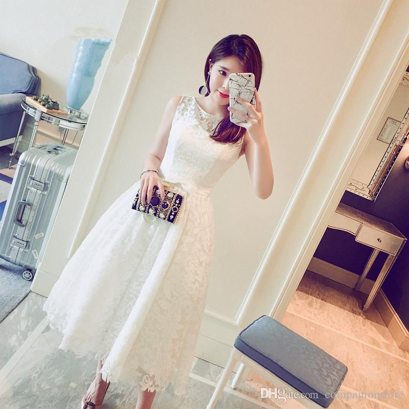 Real Photo In Stock White Plus Size Prom Dresses Sleeveless Lace Ball Gown White Prom Dress Short Tea-Length Ball Dress 0413