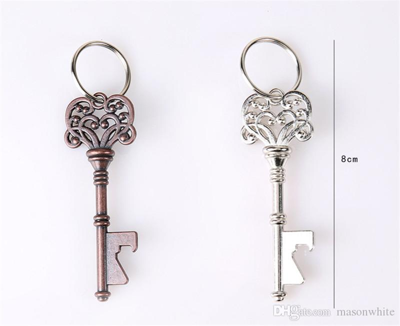 Beer Bottle Caps Crafts Openers Bar Beer Tools Vintage Key Shape with Ring Wedding Favor Gift Silver Copper Stainless Steel Diamond Color