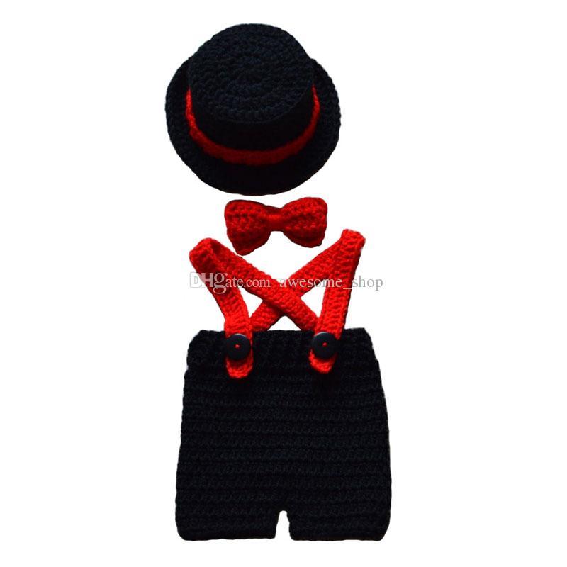 Süper Serin Küçük Beyefendi Kıyafet, El Yapımı Örgü Tığ Erkek Bebek Kız Siyah Tophat, Papyon ve Şort Set, Yenidoğan Bebek Fotoğraf Prop