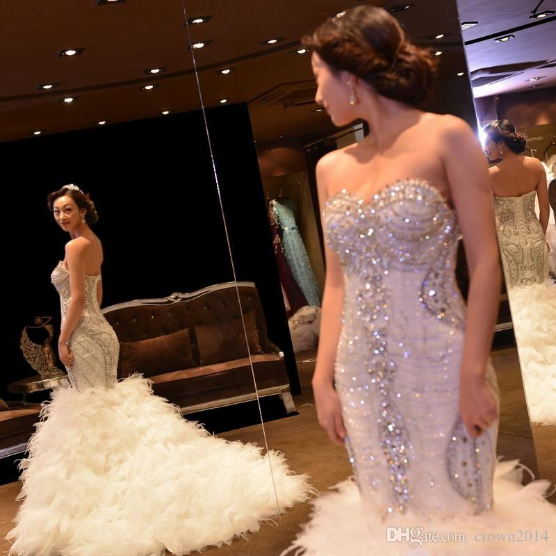 Vestido De Noiva Crystal White Mermaid Brautkleider Luxus-Strauß-Feder Brautkleider Sexy Elfenbein Brautkleid 2019 Robe De Mariage