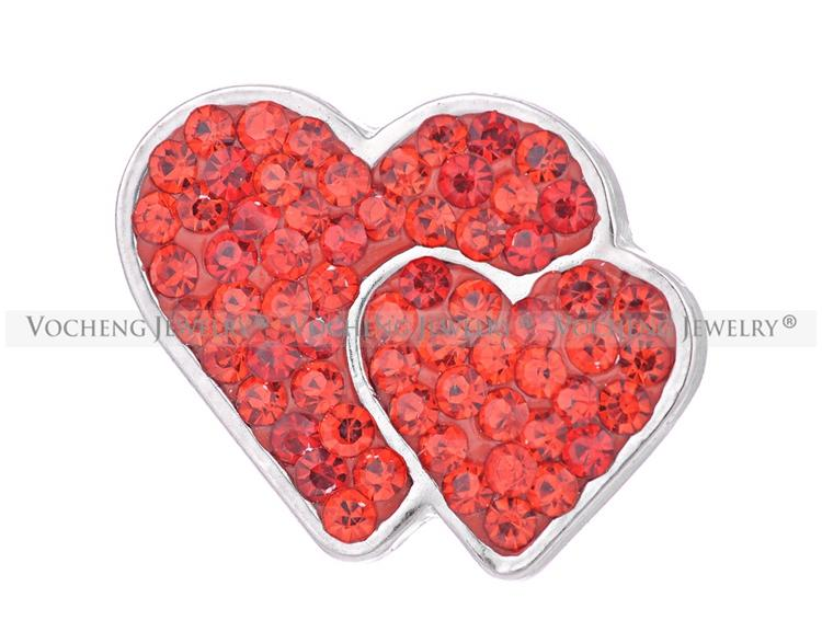 NOOSA 18mm Snap Charms 3 couleurs Bling Crystal Double Love Heart Gingembre Snap Bijoux VOCHENG Vn-1056