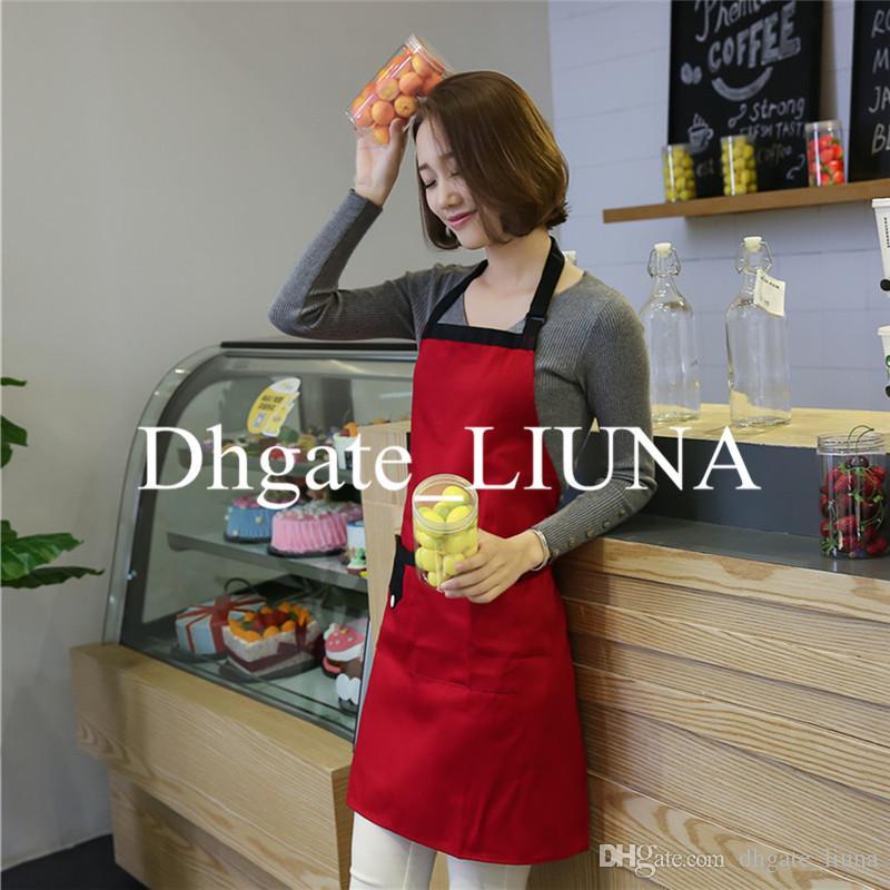Großhandel 10 Stück Einstellbare Frauen Schürze Bib Uniform Mit 2 Taschen Chefkellner Küche Kochwerkzeug Rot
