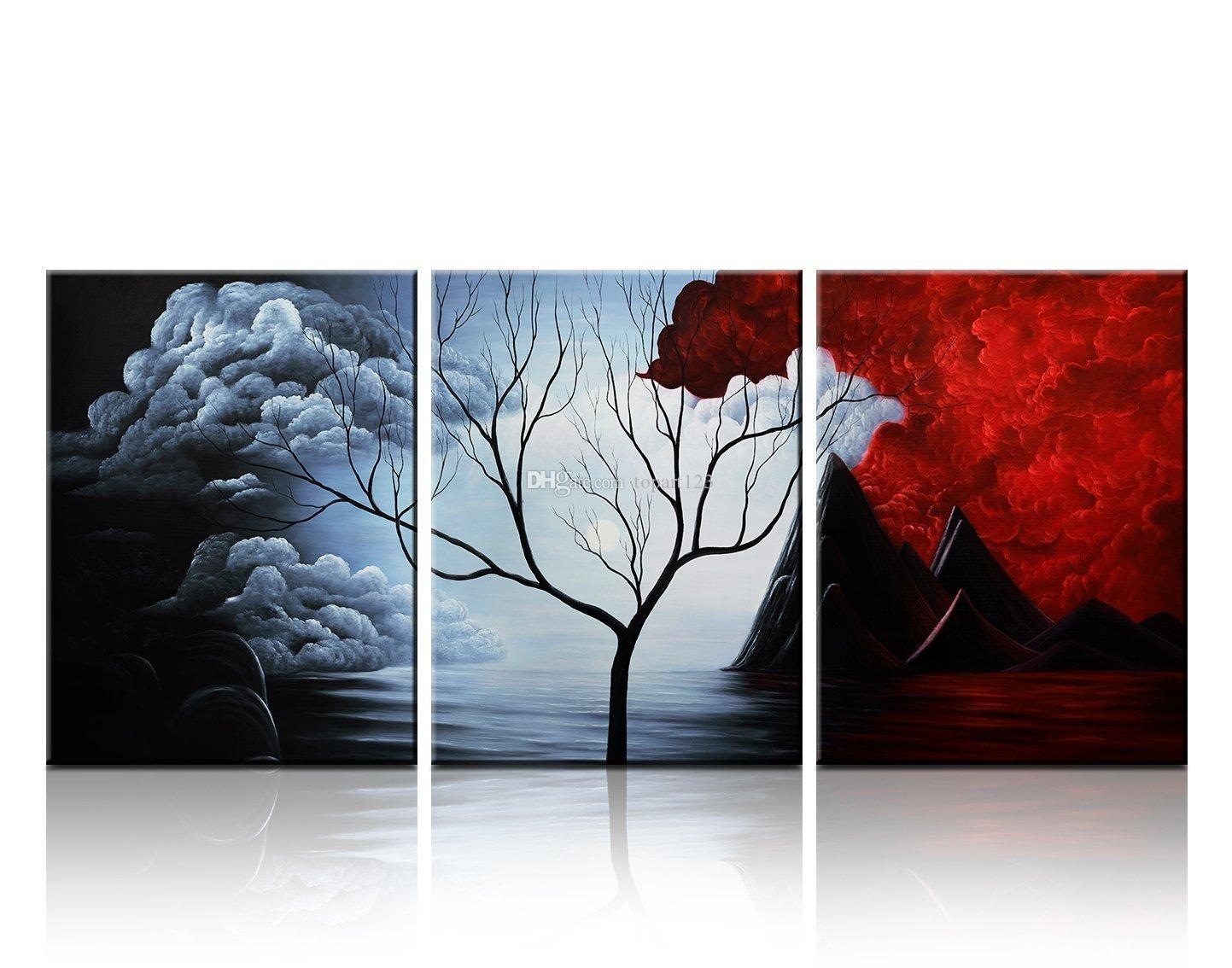 2017 3 Panels The Cloud Tree Wall Art Oil Paintings Giclee
