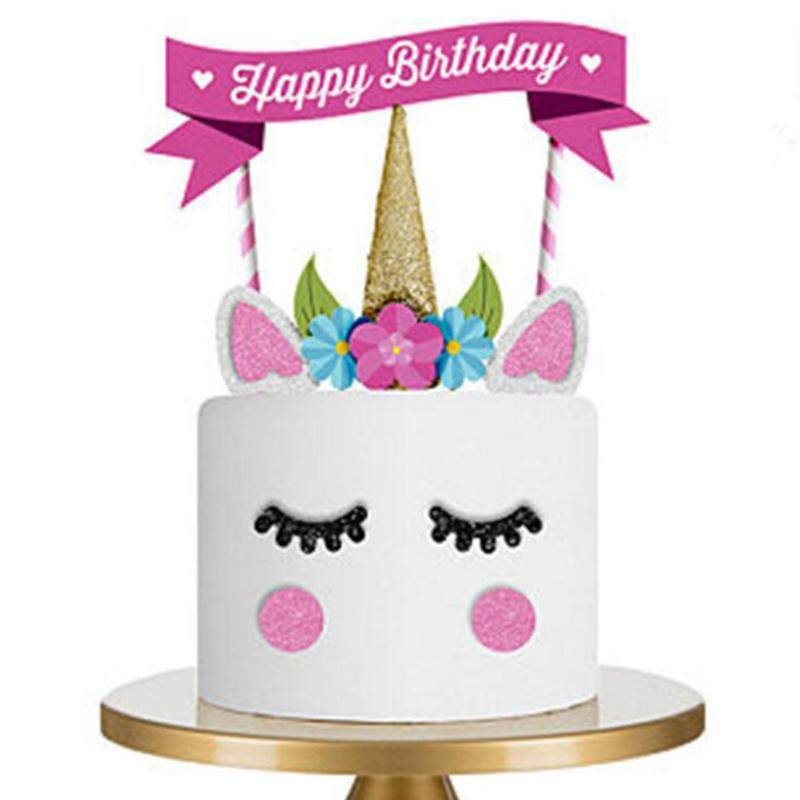 Satın Al Unicorn Mutlu Doğum Günü Pastası Bayrağı Doğum Günü