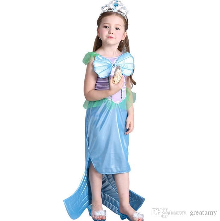 New Baby Kids Mermaid Ariel Princess Dress Party Girls Dresses Girls Costume Children Cosplay Halloween Christmas Costume