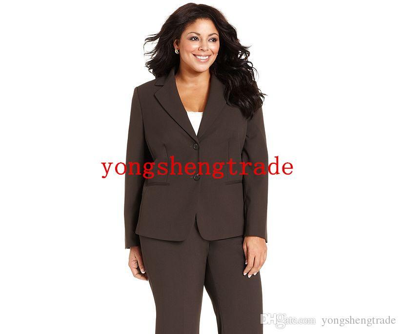 Traje de talla grande de mujer marrón por encargo Talla grande de dos botones chaqueta de pierna recta HS7944