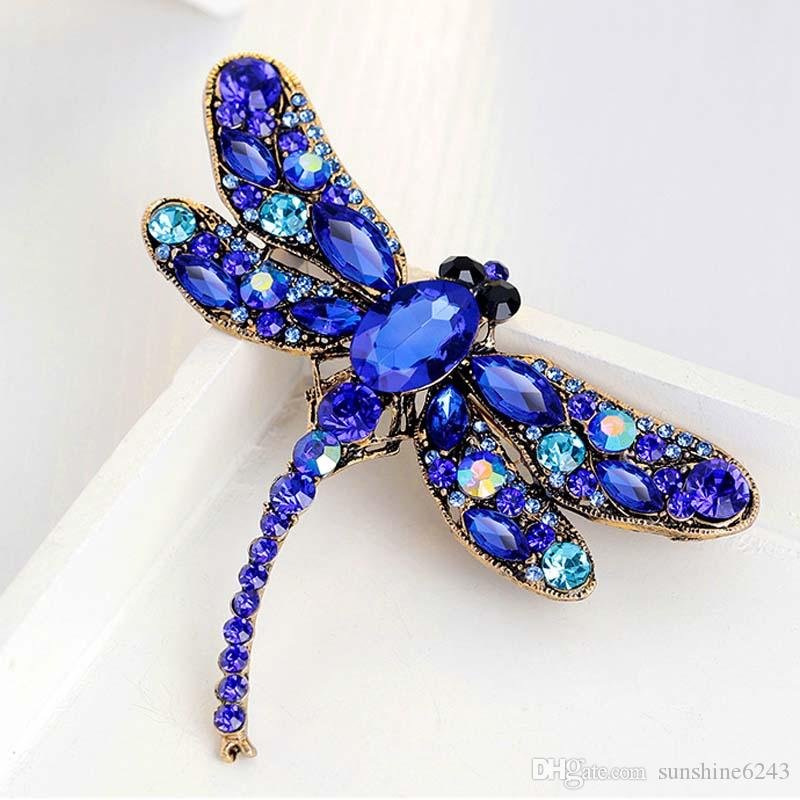 Vintage Full Rhinestone Dragonfly Brooches Pins Multicolors Crystal Animal Costume Pin Breastpin Party Dress Jewelry Birthday Gift