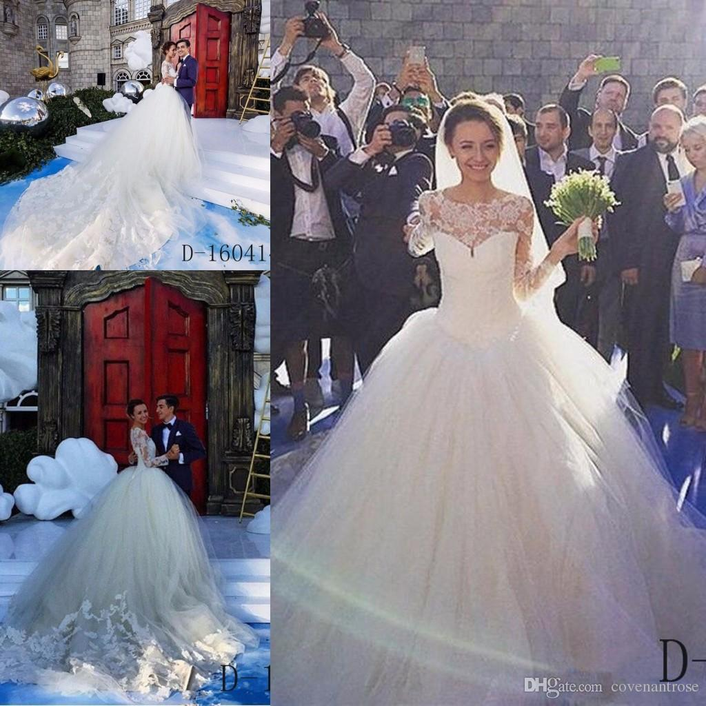 Vintage Ball Gown Wedding Dress Cathedral Long Train Long Sleeve