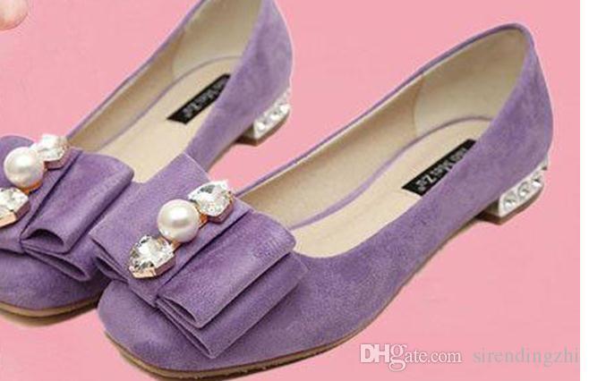 2015 primavera nuevo arco rosa coreano con zapatos de diamantes de perla con zapatos con gruesa superficial